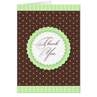 Cartão Obrigado verde/cartão de Brown