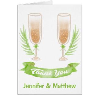 Cartão Obrigado verde da aguarela você vidros de vinho