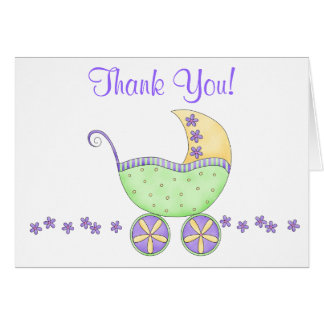 Cartão Obrigado verde da carruagem do carrinho de bebê