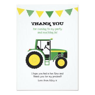 Cartão Obrigado verde do aniversário do trator você
