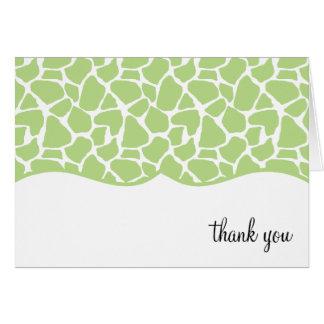 Cartão Obrigado verde do impressão do girafa você notas