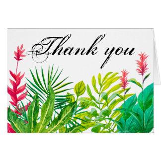 Cartão Obrigado verde e vermelho das folhas você Notecard