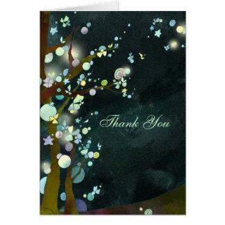 Cartão Obrigado verde escuro rústico do casamento da