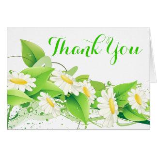 Cartão Obrigado verde floral você flores das margaridas