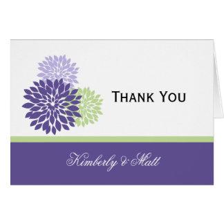 Cartão Obrigado verde pálido das pétalas da lavanda roxa