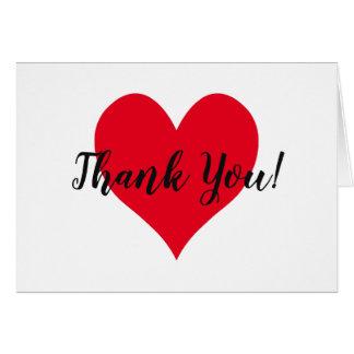 Cartão Obrigado vermelho brilhante do coração você