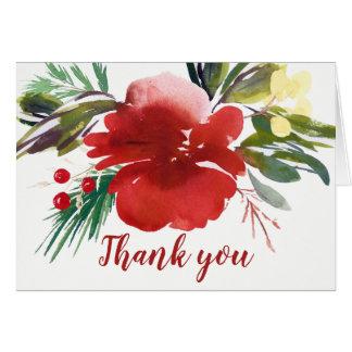 Cartão Obrigado vermelho da flor do Natal da aguarela
