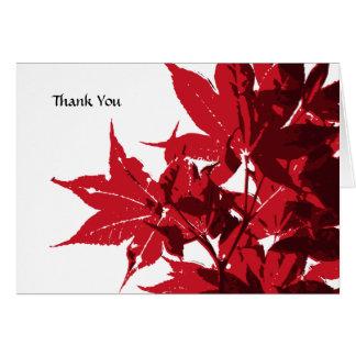 Cartão Obrigado vermelho das folhas de bordo você