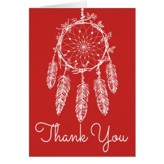 Cartão Obrigado vermelho de Boho você sonha o nativo