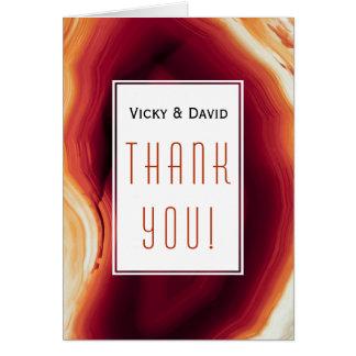 Cartão Obrigado vermelho do casamento do geode da fatia