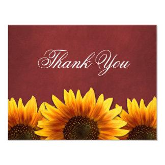 Cartão Obrigado vermelho do casamento do girassol do