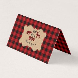 Cartão Obrigado vermelho do chá de fraldas do búfalo do