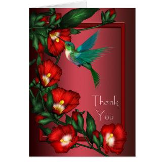 Cartão Obrigado vermelho do colibri do hibiscus você