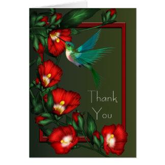 Cartão Obrigado vermelho do colibri do verde do hibiscus