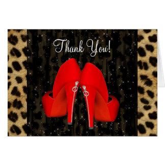 Cartão Obrigado vermelho do leopardo dos calçados do