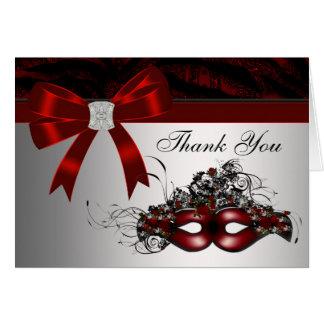 Cartão Obrigado vermelho elegante do partido do mascarada