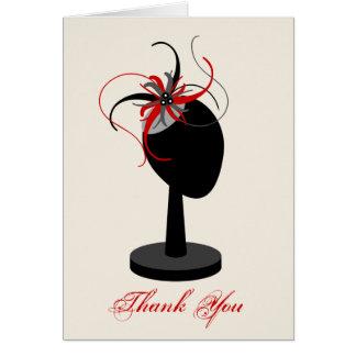 Cartão Obrigado vermelho & preto do suporte de Fascinator