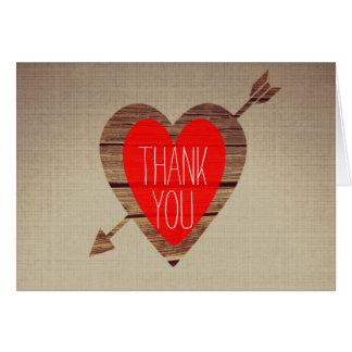 Cartão Obrigado vermelho rústico da seta do coração você