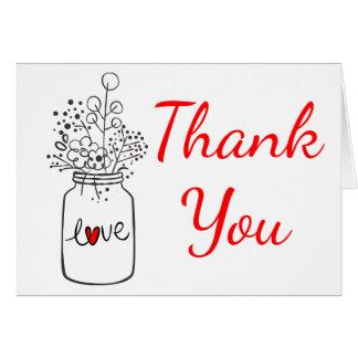 Cartão Obrigado vermelho rústico você casamento floral do
