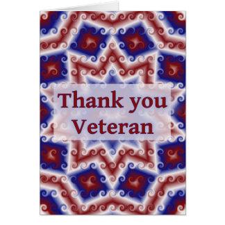 Cartão Obrigado veterano, abstrato branco vermelho do