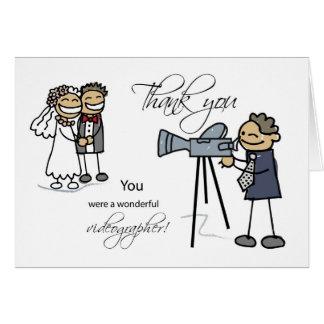 Cartão Obrigado Videographer Wedding, figuras da vara