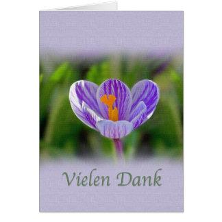 Cartão Obrigado, Vielen húmido, alemão, flores