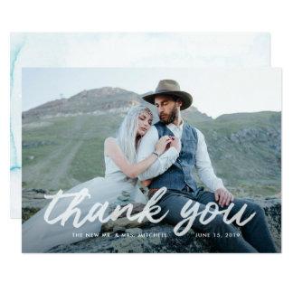 Cartão Obrigado Wedding azul da foto da gratitude | de