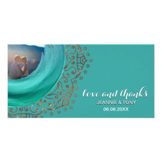 Cartão Obrigado Wedding chique da cerceta | da mandala do