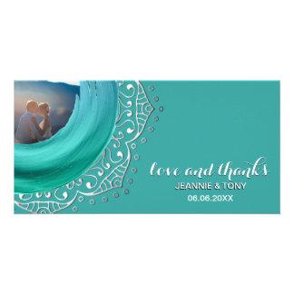 Cartão Obrigado Wedding da cerceta | da prata da mandala