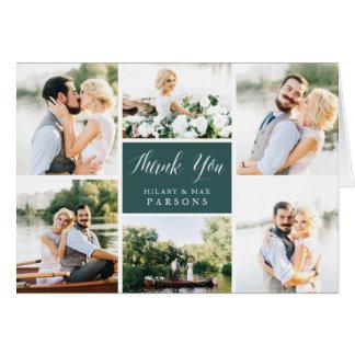 Cartão Obrigado Wedding da colagem da foto do Cursive |