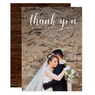 Cartão Obrigado | Wedding rústico moderno da foto você