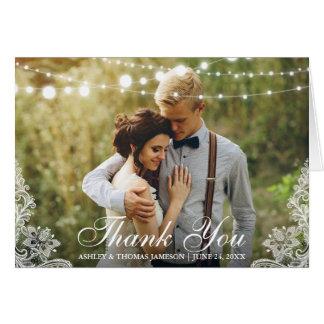 Cartão Obrigado Wedding você ata a dobra da foto das