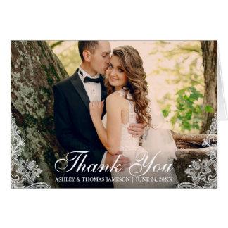 Cartão Obrigado Wedding você ata a dobra da foto do casal
