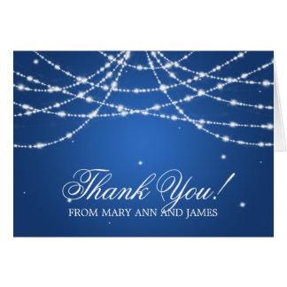 """Cartão """"Obrigado Wedding você"""" azul Sparkling da corda"""