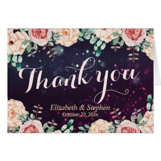Cartão Obrigado Wedding você luz roxa floral chique da