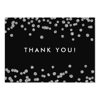 Cartão Obrigado Wedding você preto de prata dos confetes