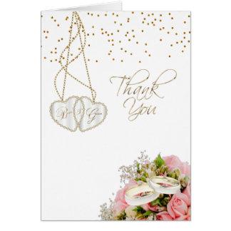 Cartão Obrigado Wedding você rosa cor-de-rosa floral