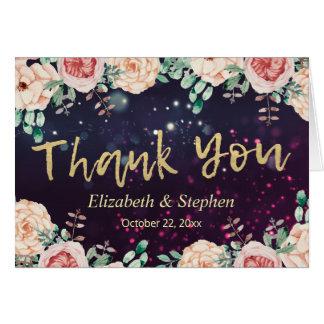 Cartão Obrigado Wedding você roteiro roxo floral moderno