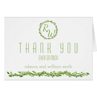 Cartão Obrigado Wedding Woodsy do verde da videira da