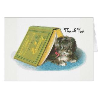 Cartão Obrigado - yorkshire terrier - Yorkie - livro