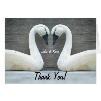 Cartão Obrigado Yous do casamento do país da cisne