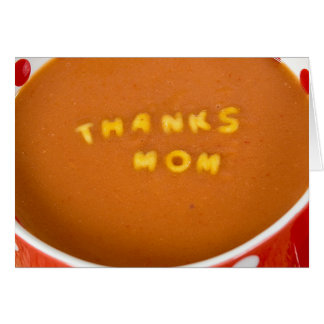 Cartão obrigados à mamã na sopa do tomate