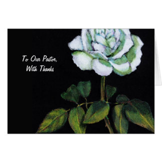 Cartão Obrigados ao pastor: Único rosa branco no preto,