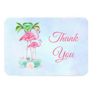 Cartão Obrigados cor-de-rosa do flamingo & do chá de