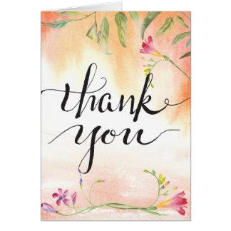 Cartão Obrigados da caligrafia do pop do rosa do Freesia