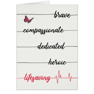 Cartão Obrigados da enfermeira - bravos, compassivo,