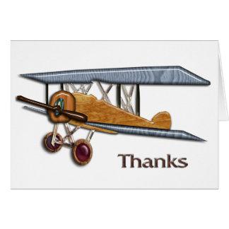 Cartão Obrigados de madeira do biplano