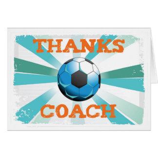 Cartão Obrigados do treinador do futebol, alaranjados na