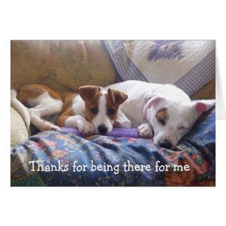 Cartão Obrigados dos cães para estar lá