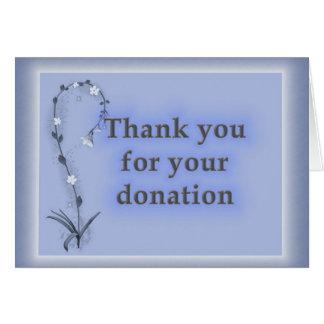 Cartão Obrigados para a doação, floral azul sofisticado